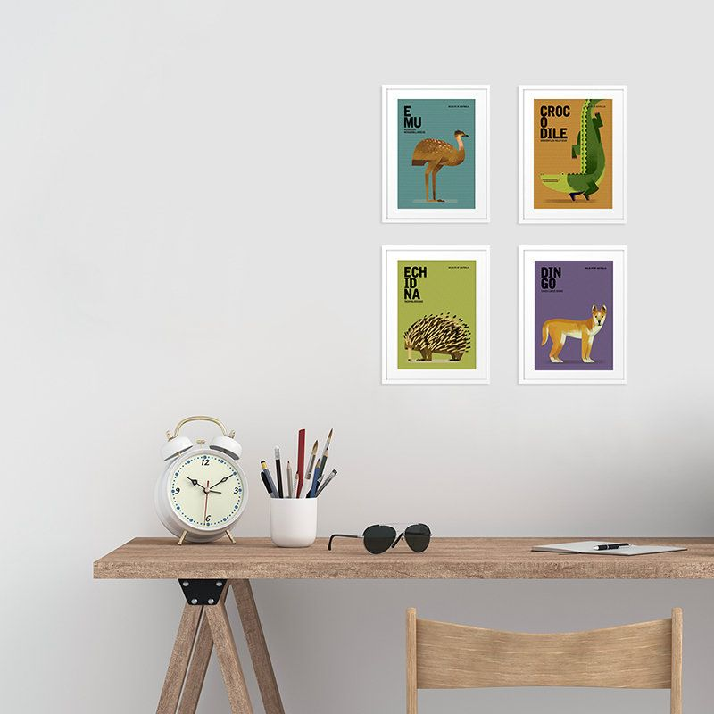 Australian Animals Art Prints Nursery Art Colourful Kids Room Prints Koala Wombat Echidna Croc Emu Platypus Set Of 4 5 X 7 Animal Print Australian Animals Art Wall Kids Animal Art Prints