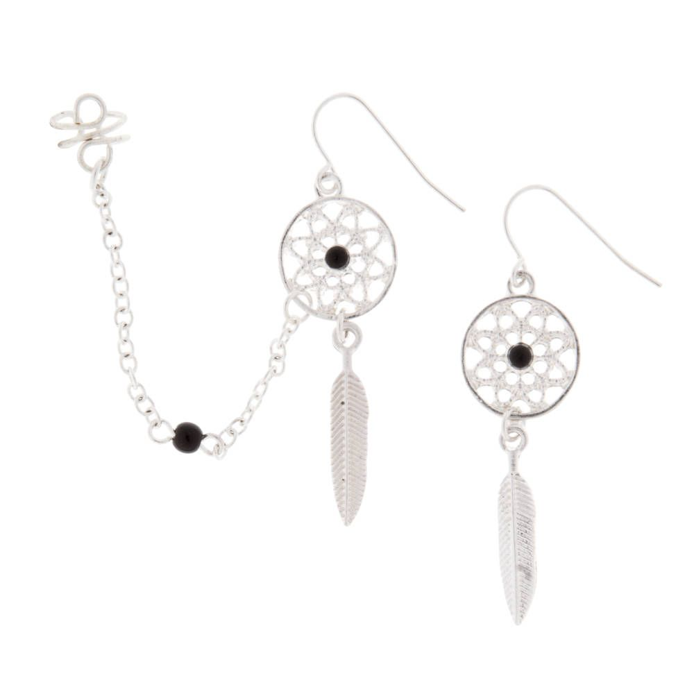 Dream Catcher Earrings And Chain Ear Cuff