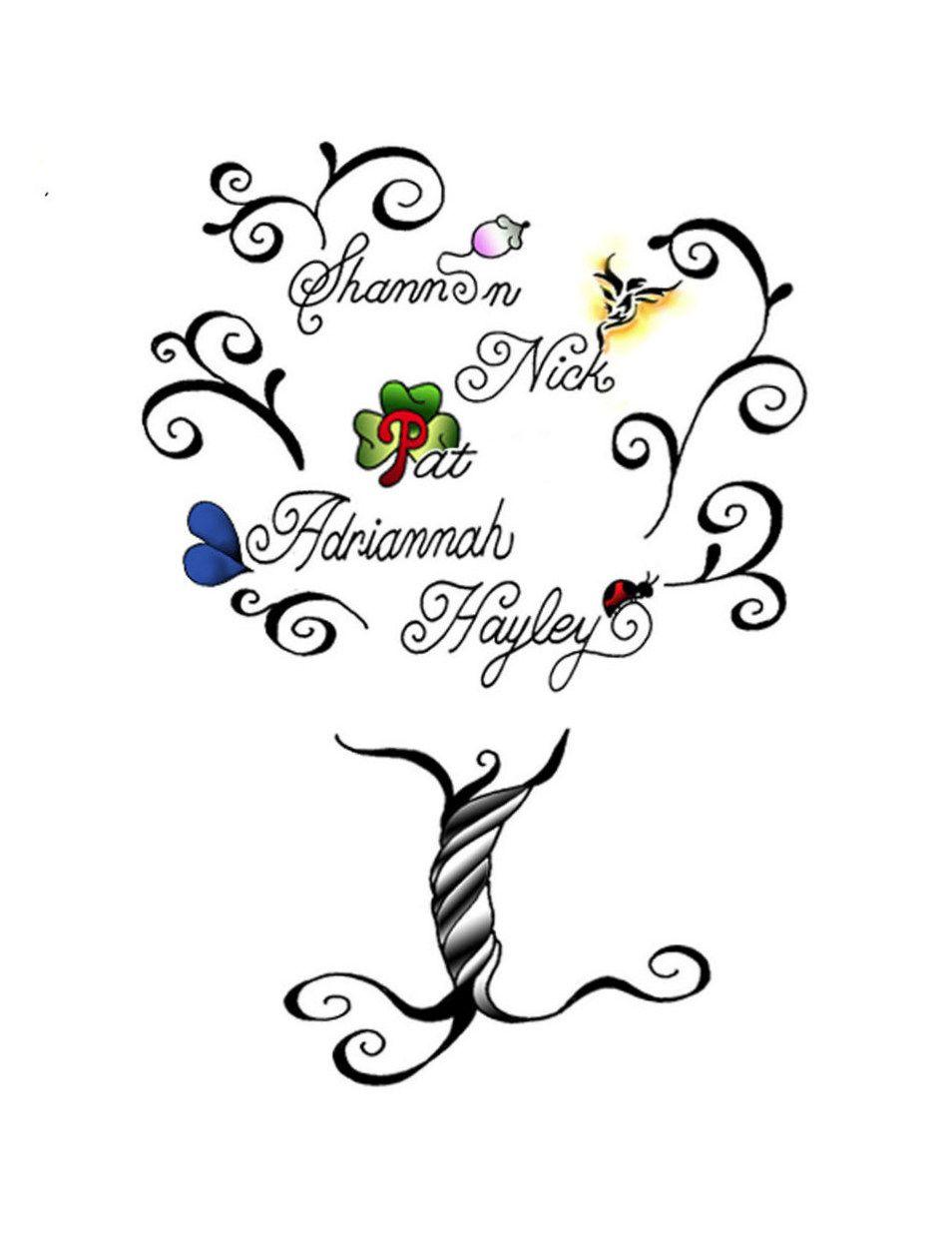 Tattoo of my family tree (kids and grandkids) symbols