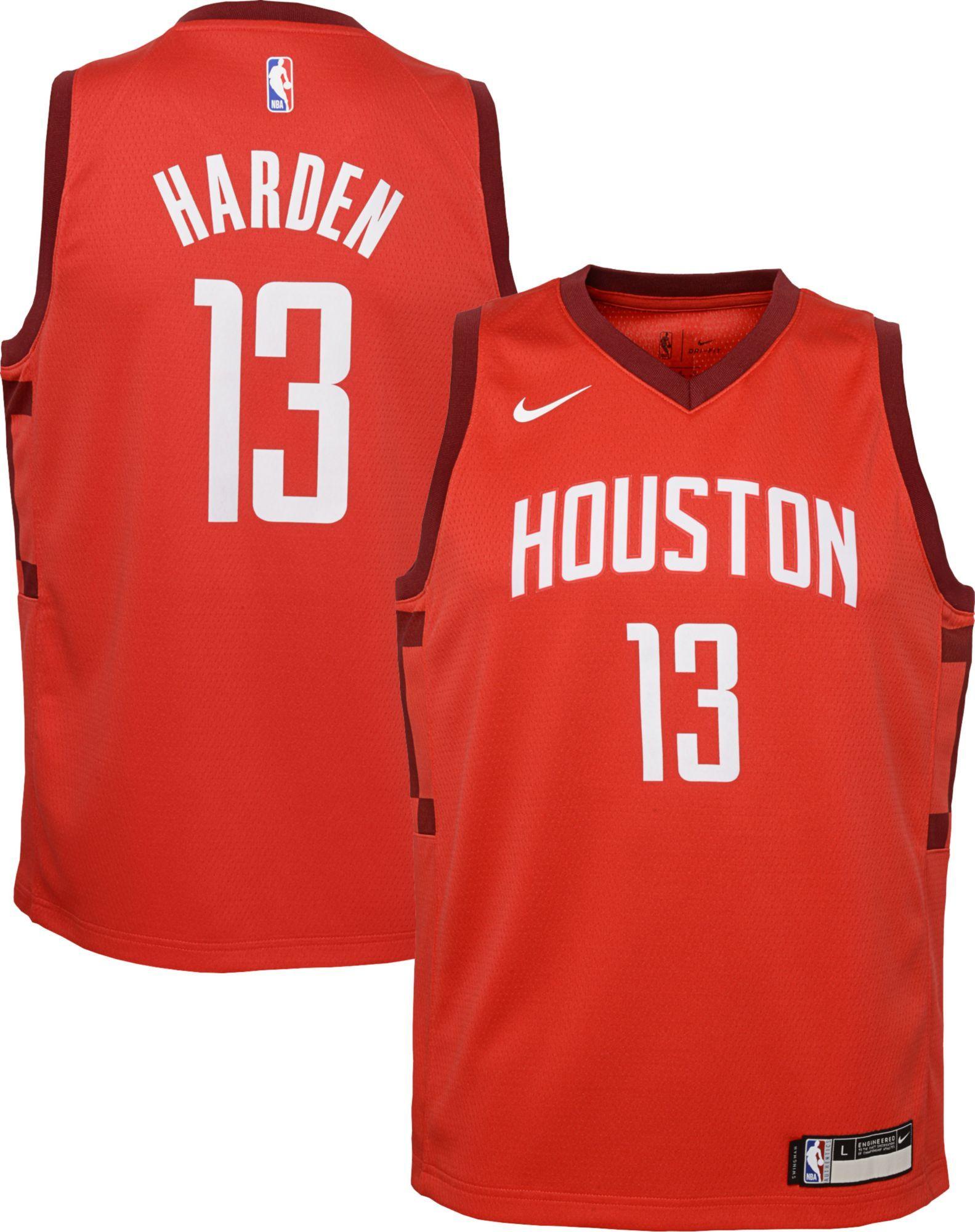 b7c6f808910 Nike Youth Houston Rockets James Harden Dri-FIT Earned Edition Swingman  Jersey, Size: Medium, Red