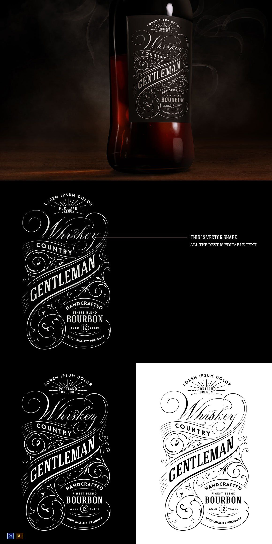 Vintage Whiskey Label Logo Template