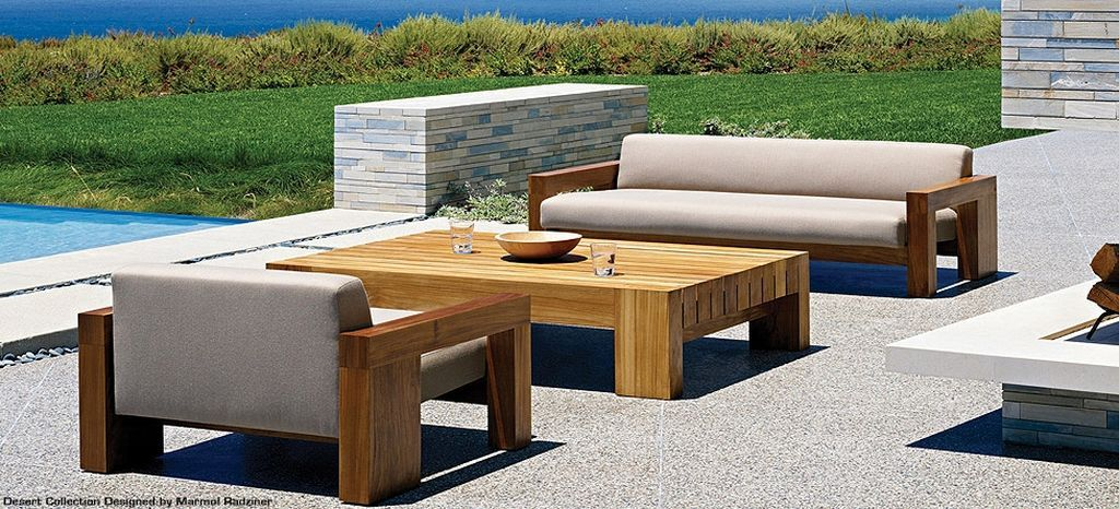 Modern wood patio furniture sets contemporary solid outdoor design desert by marmol also