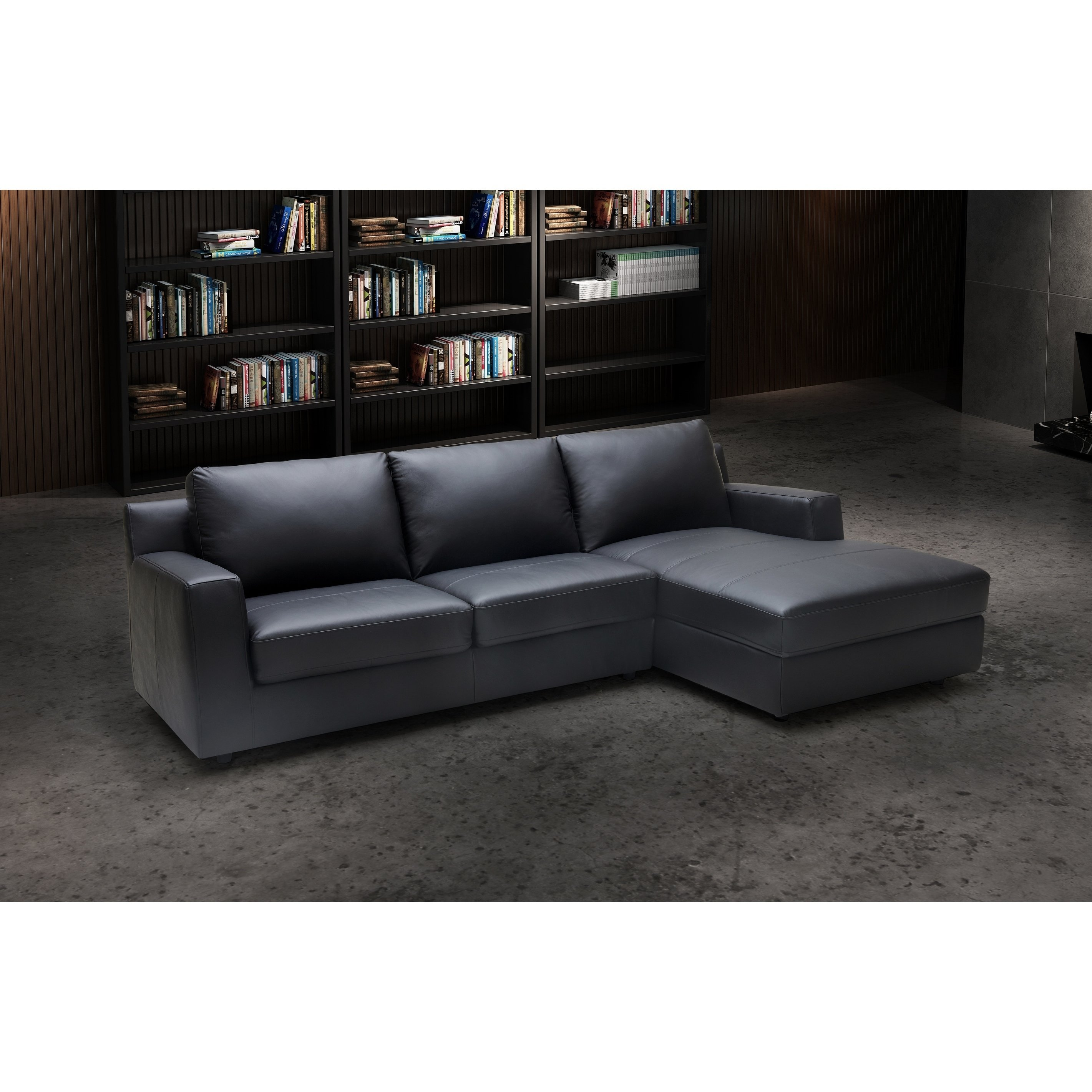 Elizabeth Rhf Chaise Black Leather Leather Sectional Sofas