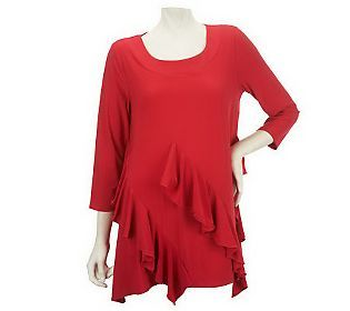 My Attitudes by Renee 3/4 Sleeve Top with Ruffle Detail is now available for $44 on @QVC Official