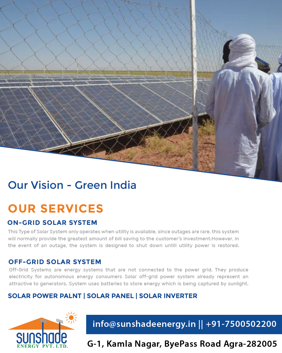 India Is Endowed With Vast Solar Energy Potential Its One Time Investment And Lifetime Saving Contact Us F On Grid Solar System Solar Inverter Energy System