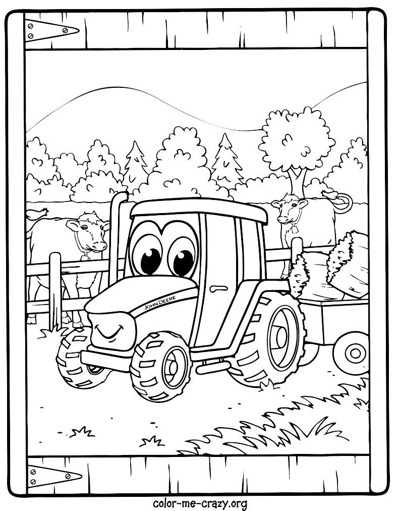 Coloring Pictures John Deere Tractors - Johnny tractor coloring pages