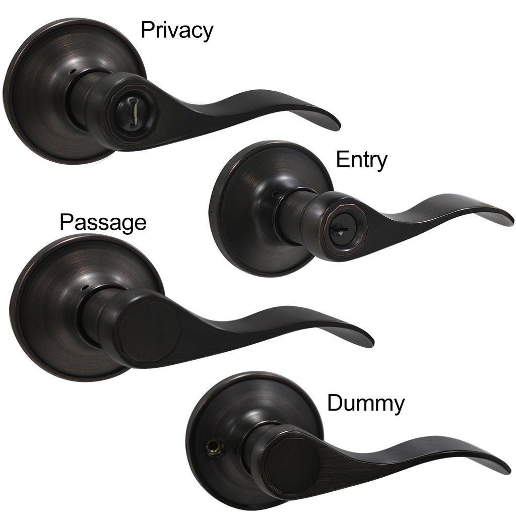 Wave Handle Heavy Duty Entrance Privacy Passage Dummy Door Lock Levers, Oil  Rubbed Bronze #