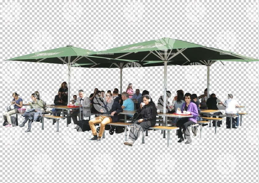People sitting in outdoor cafe cutout for 12.6.2016 by Gobotree