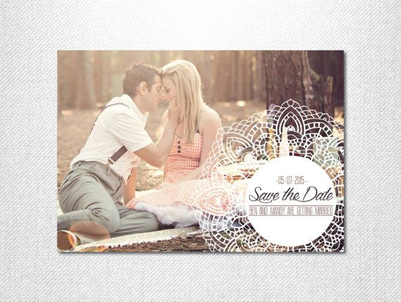 Lace Save the Date ~ Photo Save the Date ~ Vintage Save the Date ~ Save the Date ~ Mandala Monogram ~ Mandala Print ~ Vintage Wedding