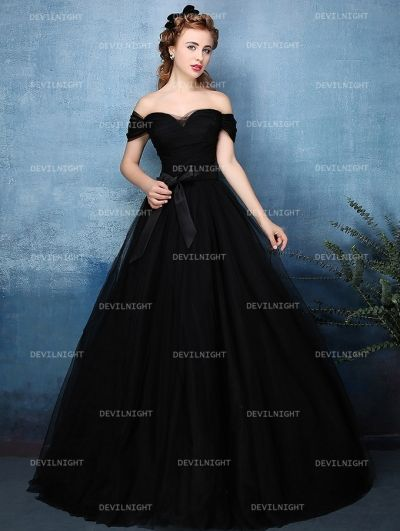 Black Off-the-Shoulder Princess Style Gothic Wedding Dress ...