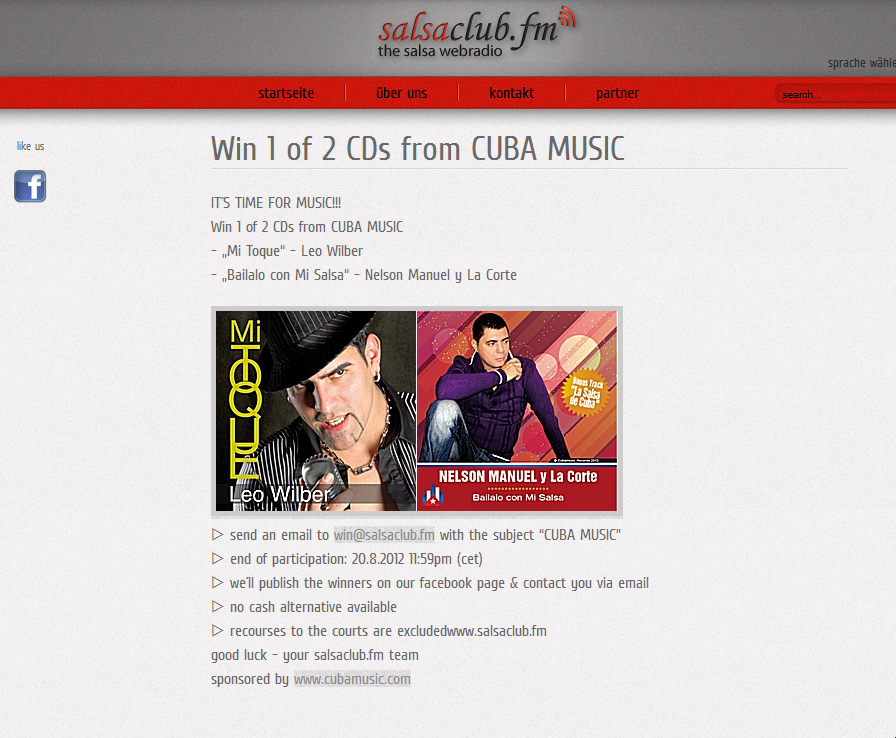Win 1 of 2 CDs from CUBA MUSIC - http://www.salsaclub.fm/Salsa-ClubFM/index.php/de/component/content/article/2-brandaktuelle-infos/20-win-1-of-2-cds-from-cuba-music
