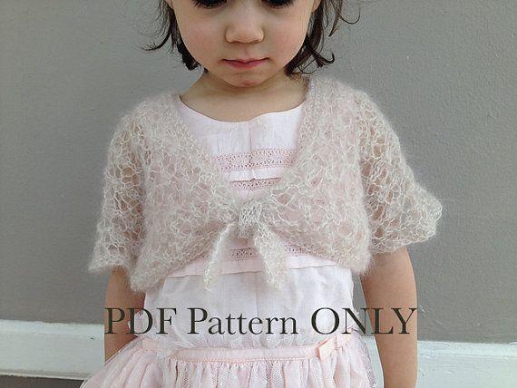 Girl Shrug Knitting Pattern PDF - Toddler Cardigan - Spring Mohair ...