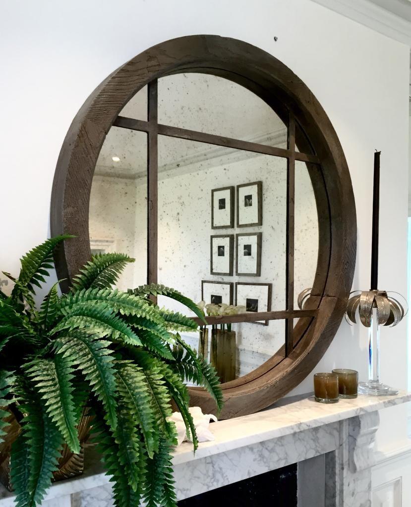 Extra Large Reclaimed Oak Circular Window Mirror Wooden Home Goods
