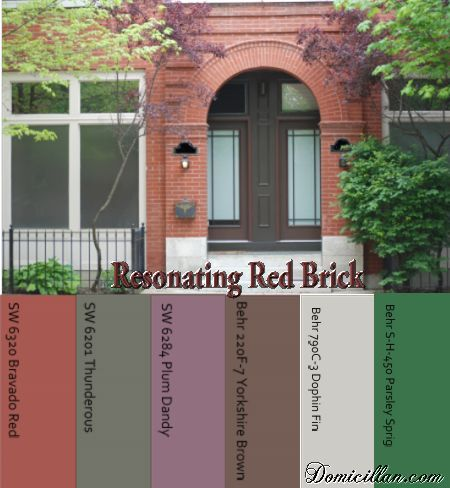 Paint Color Ideas To Go With Red Brick I Like The Dark Brown But Not Sure I 39 D Have The Guts