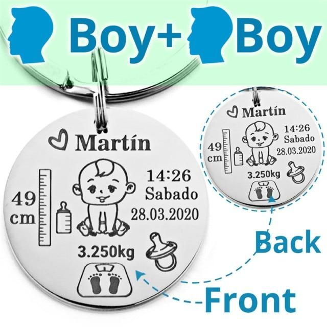 Lovely Personalized Baby Boys Girls Keychain  Name Birth Weight Height For Newborn Commemorate New Mom Dad Gift Keyring P026_C - Boy and Boy / Commonly / Commonly