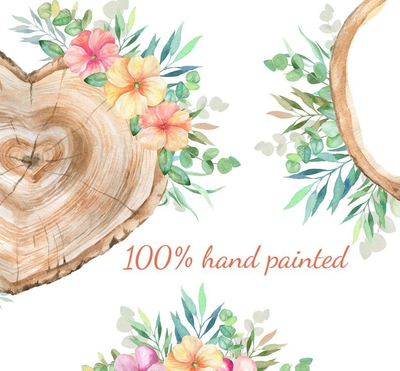 wedding clipart invitation rustic wood slice vector wood clipart watercolor flowers clipart flower wood slice Flower wood slice clipart
