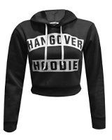 Forever Womens Long Sleeves Hangover & Work Out Fleece Sweat Crop Hoodie Top  Forever