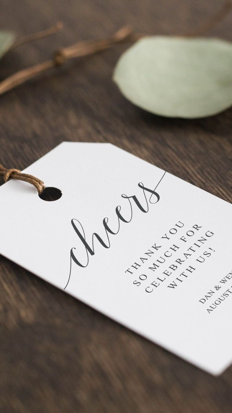 Printable Wedding Favour Tags - Cheers! Thank You Tag - DIY Wedding ...