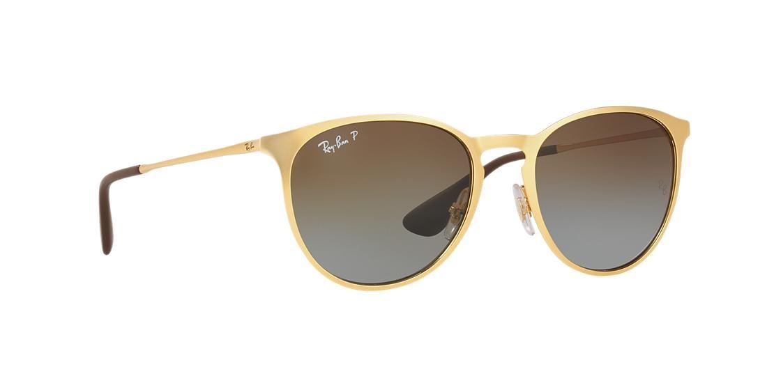 aec8976175 Ray-Ban RB3539 ERIKA METAL 54 Brown   Gold Matte Polarized Sunglasses