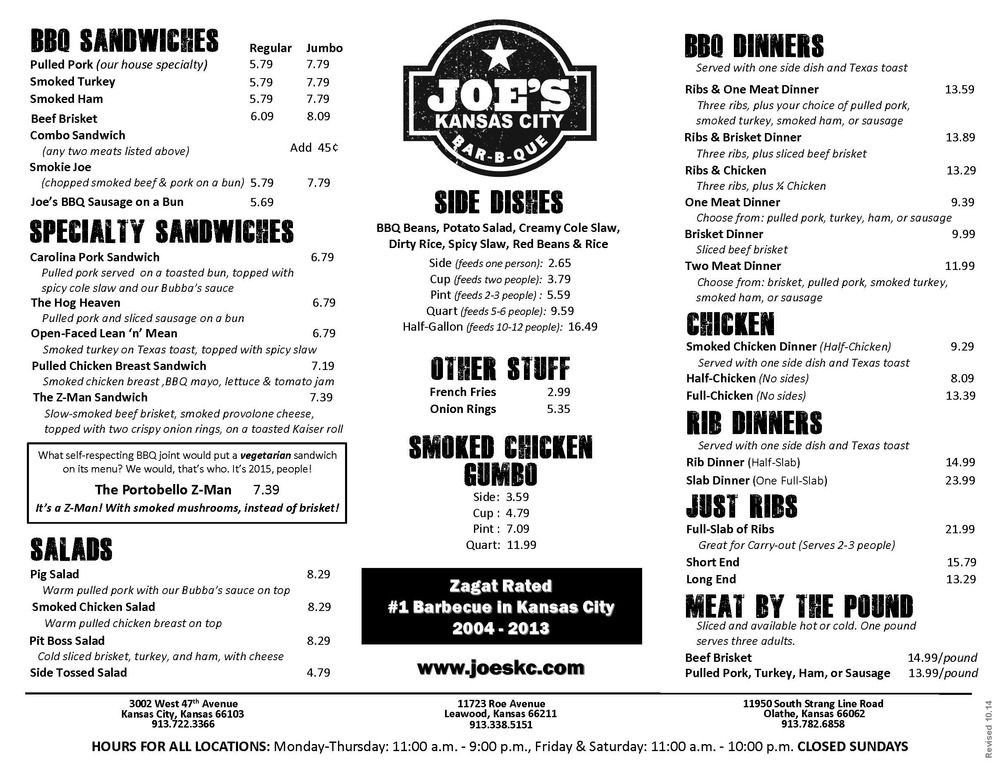 Restaurant Menu Joe S Kansas City Bar B Que Kansas City Bars Menu Restaurant Kansas City