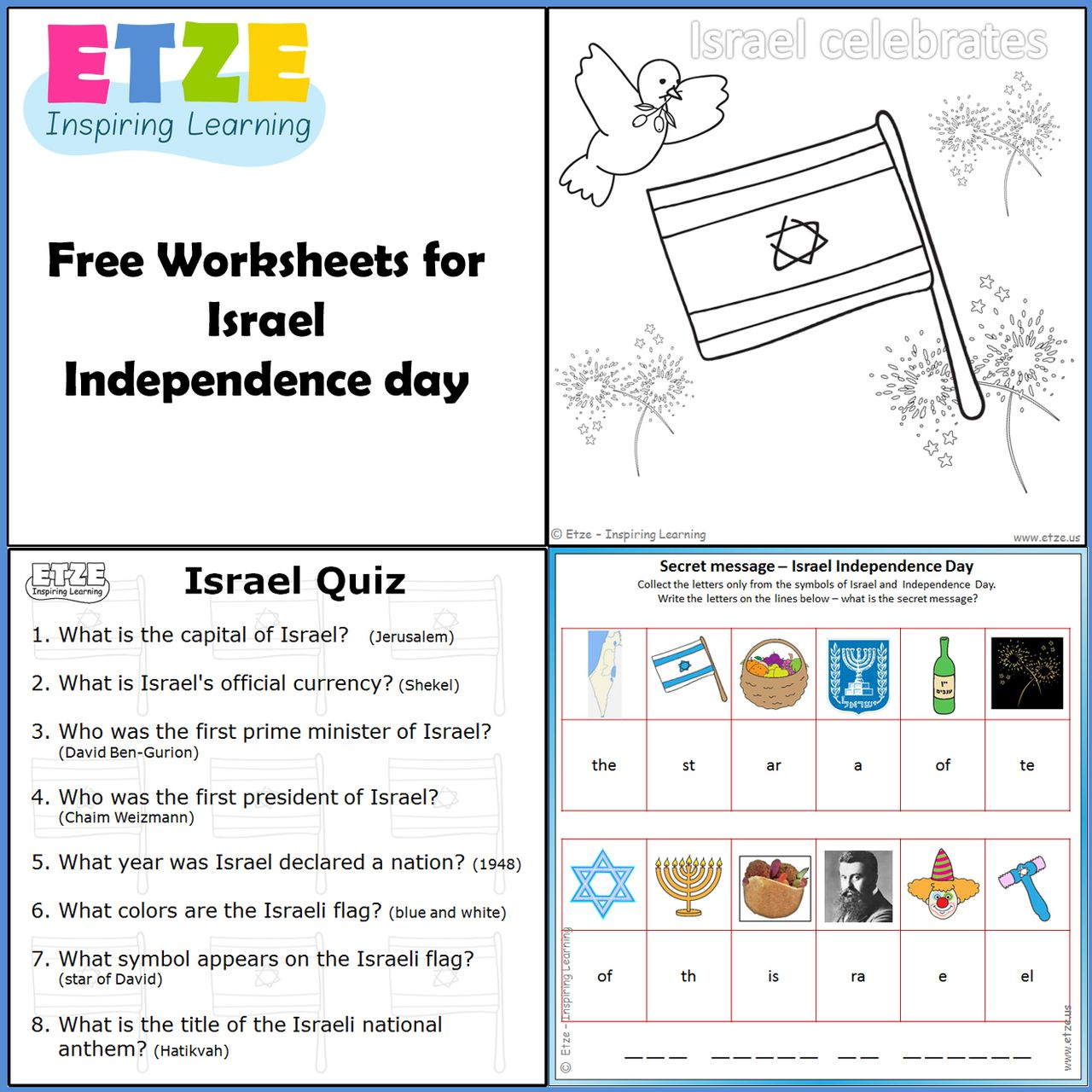 etze Israels Independence Day free enrichment worksheets – Enrichment Worksheets