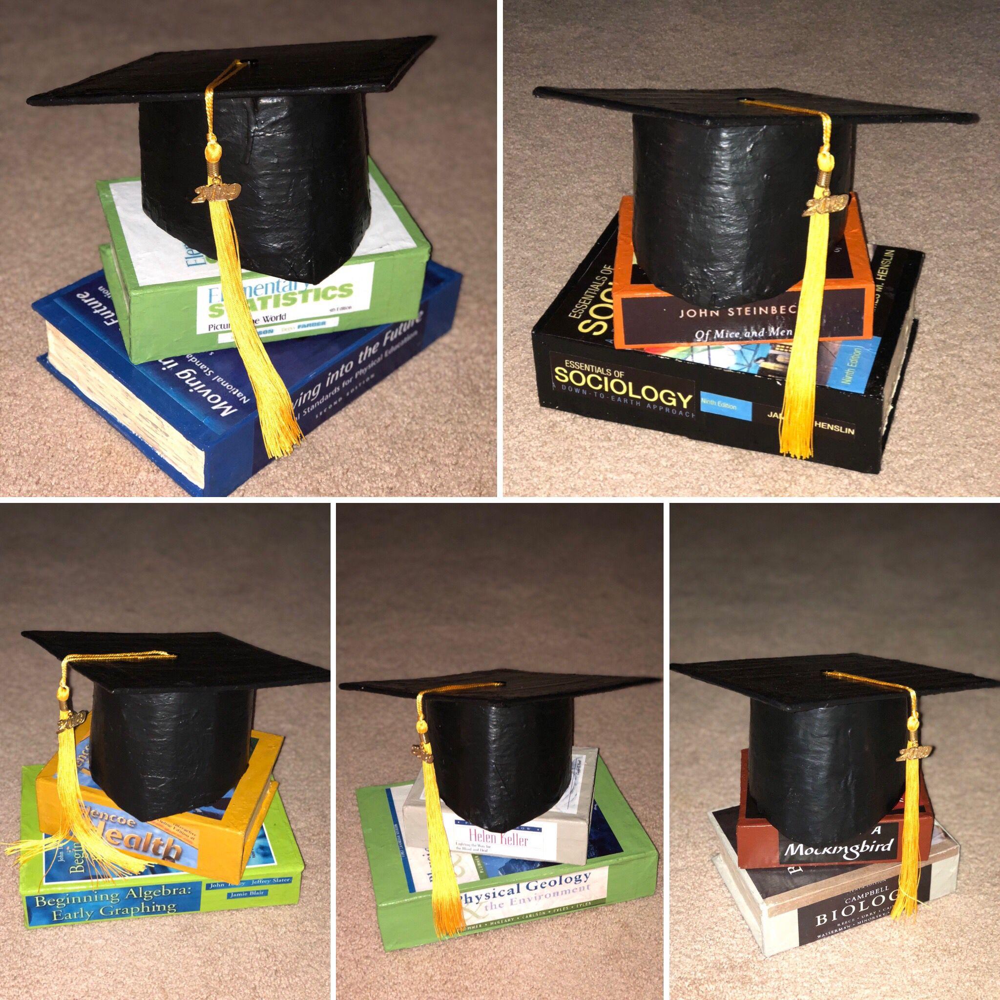 Paper Mache Graduation Cap And Book Center Pieces