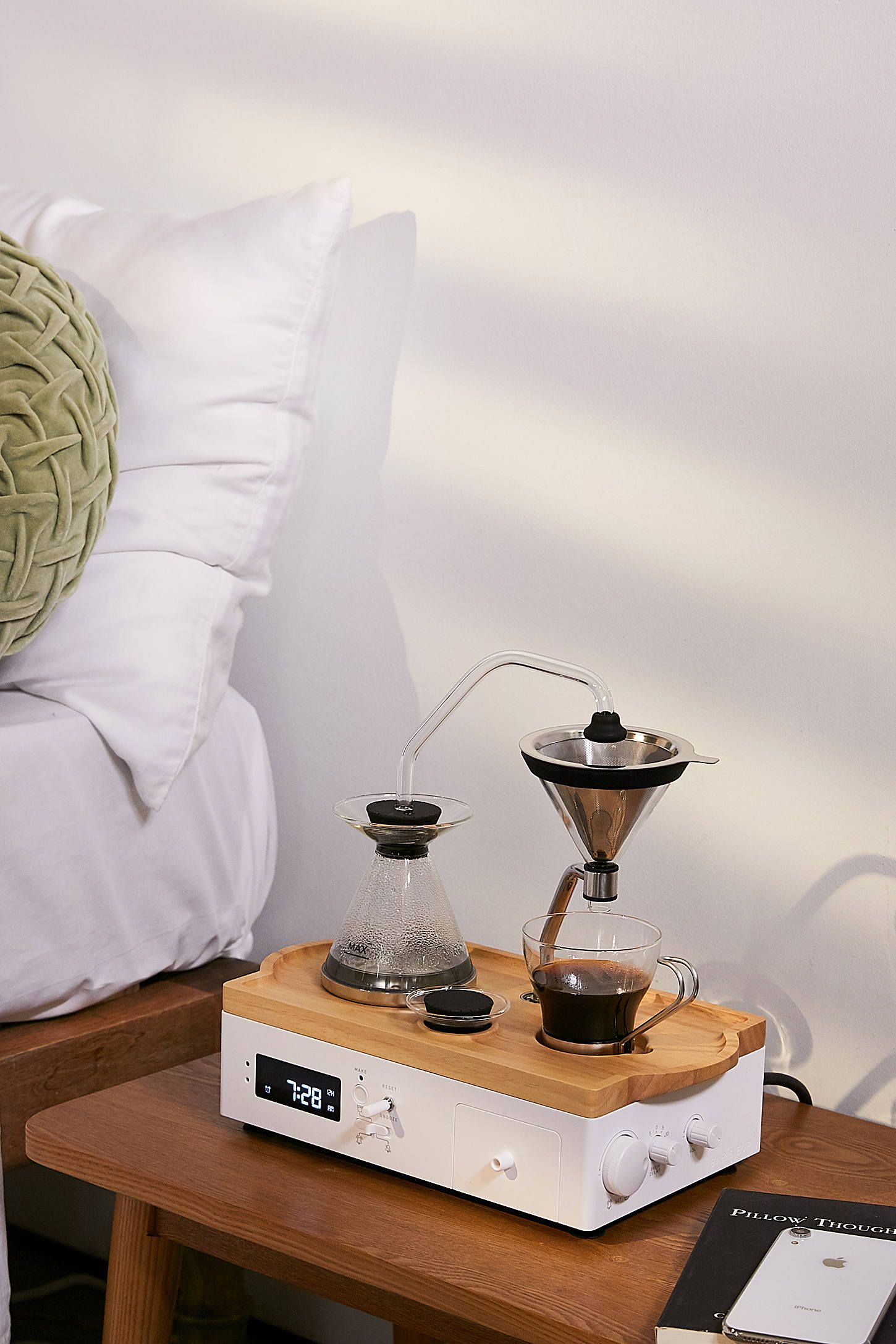 Barisieur coffee brewing alarm clock with images