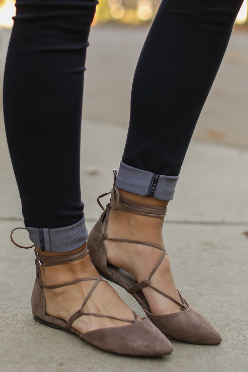First Position Dark Taupe Lace Up Flats at reddressboutique.com