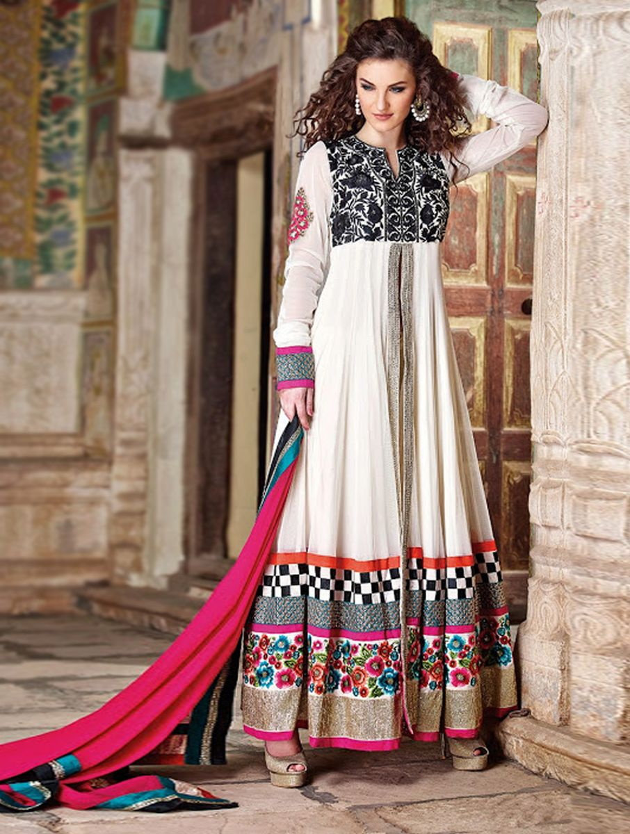 8f2714ec68 This Beautiful Dress Designed Work With Embroidered, Resham & Zari Work On  Top And Sleeve Border. Dazzling White And Black Soft Net Anarkali ...