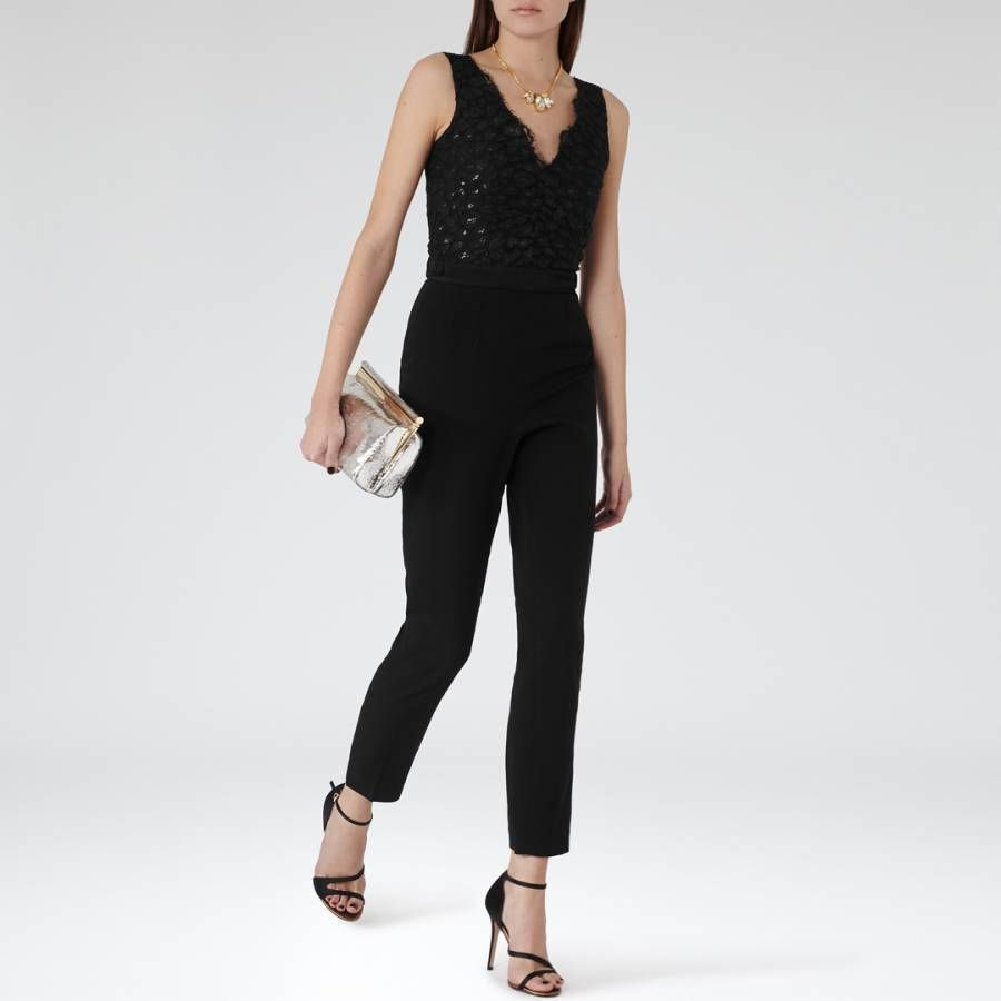 adaa2beb913 Reiss Black Tapered Slim Lace Top Jumpsuit Amorie Crepe All In One 10 12  £245