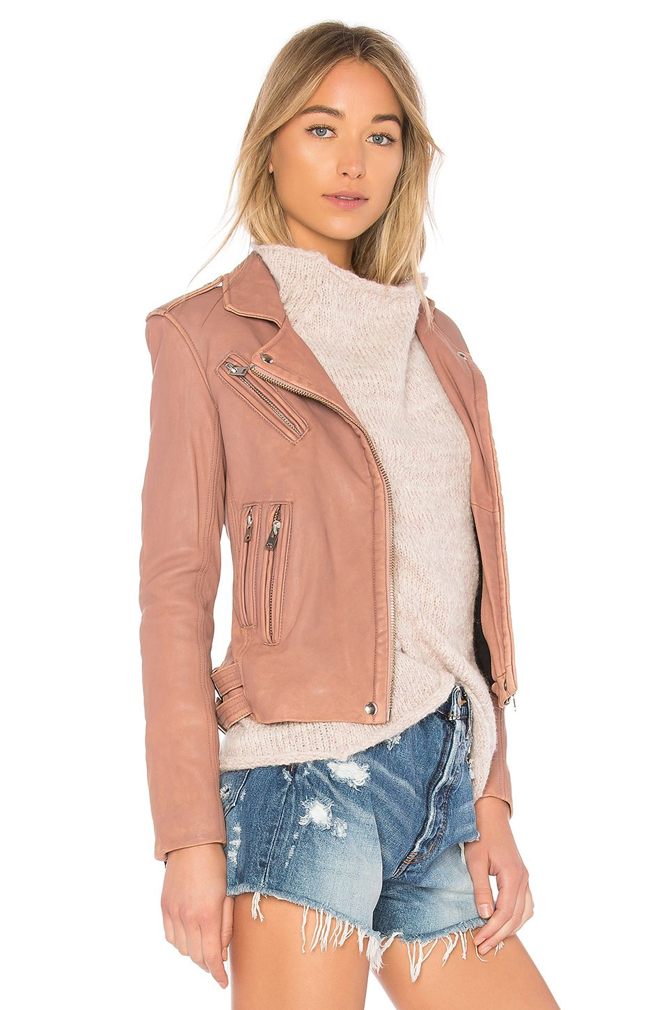 Iro Han Leather Jacket In Old Pink Revolve Leather Jacket Jackets Revolve Clothing [ 1450 x 960 Pixel ]