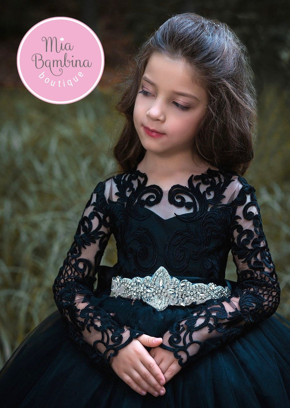Flower Girl Dresses Muscat Flower Dress With Fitted Lace Bodice And Layered Tulle Skirt In 2021 Girls Dresses Long Sleeve Ball Gowns Girls Black Dress [ 1410 x 1000 Pixel ]