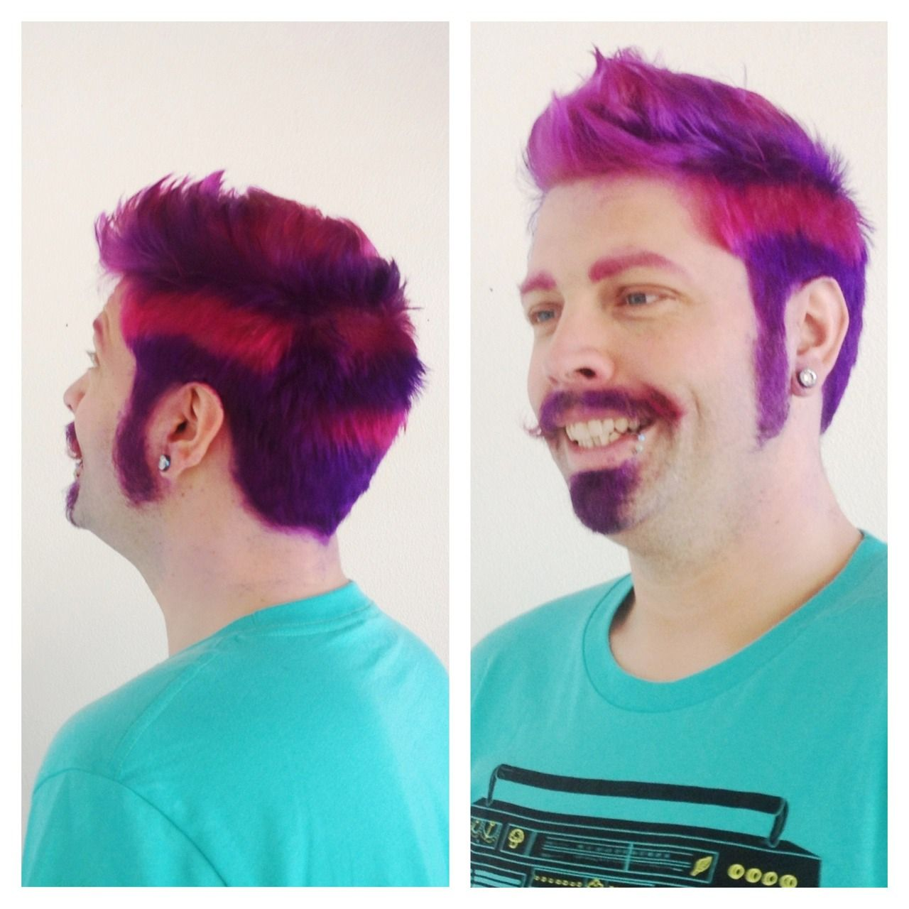 Cheshire Cat Hair His Mustache Really Make His Grin Sinister Pink Purple Cool Hair Color Cool Hairstyles Alternative Hair