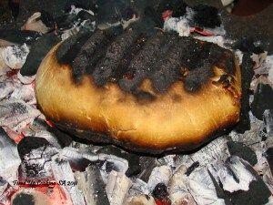 Beef fillet roast in the coals