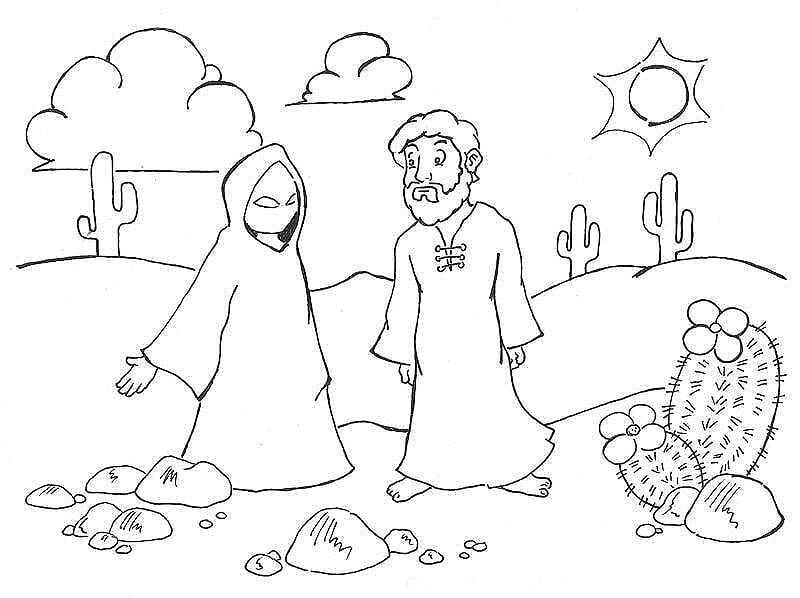Matthew 4 1 11 Coloring Page