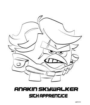 Angry Birds Star Wars 2 Coloring Pages Anakin 1  Star Wars