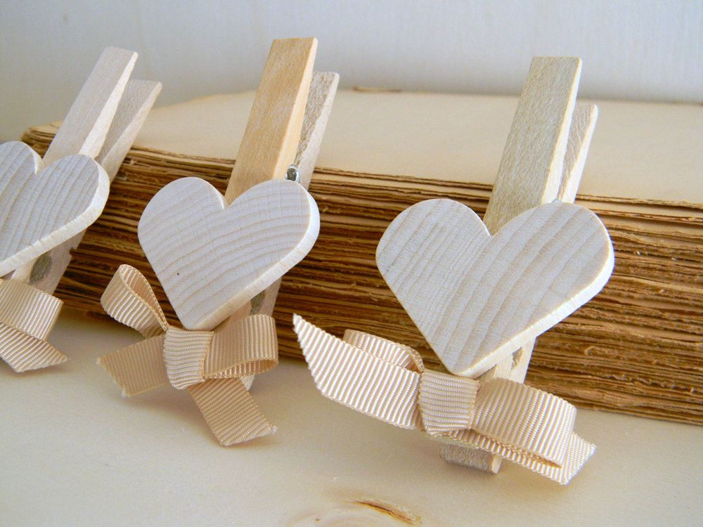 Set Of 5 Shabby Chic Wedding Favors Decoration Rustic Natural Wood