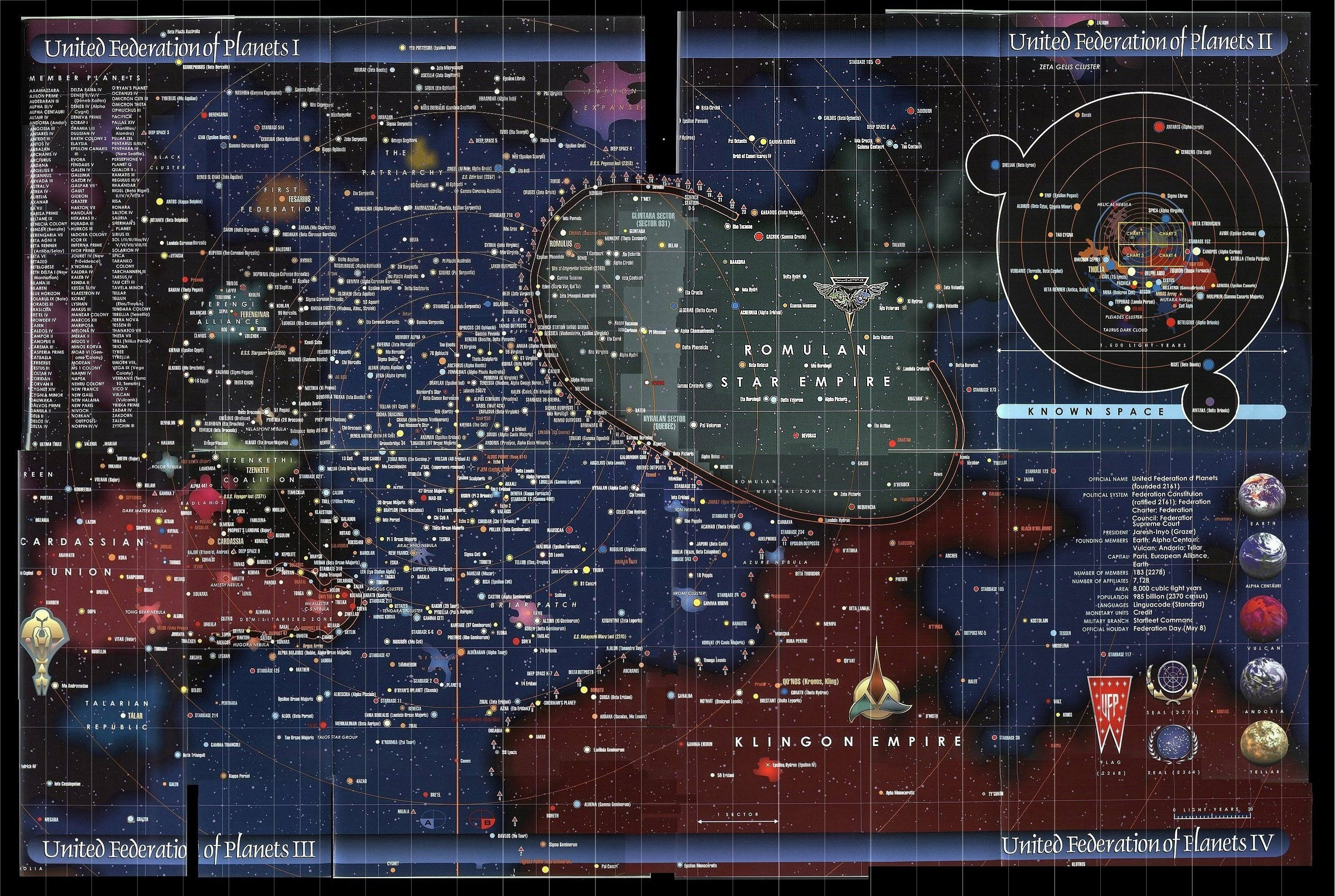 9 Maps of Science Fiction Star Trek United Federation of Planets and Nearby Space