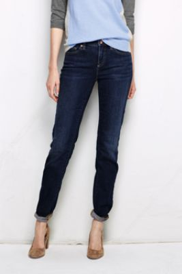 Womens Medium Indigo Wash Low Rise Slim Leg Jeans - 10 34 - BLUE Lands End huCbd