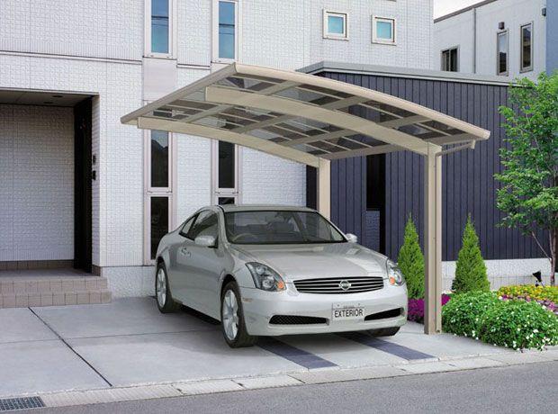 Box Auto Carpot KRB: Copertura arcuata completamente a sbalzo con colonne laterali