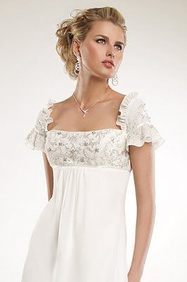Empire Waist Wedding Dress With Short Sleeves The