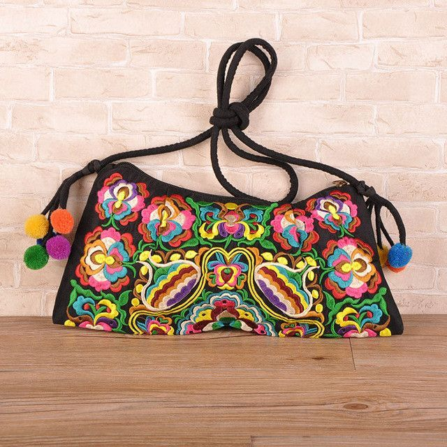 3cd97119e8 National Embroidered Bags Embroidery Unique Shoulder Messenger Bag Vintage  Hmong Ethnic Thai Indian Boho Clutch Handbag 25 style