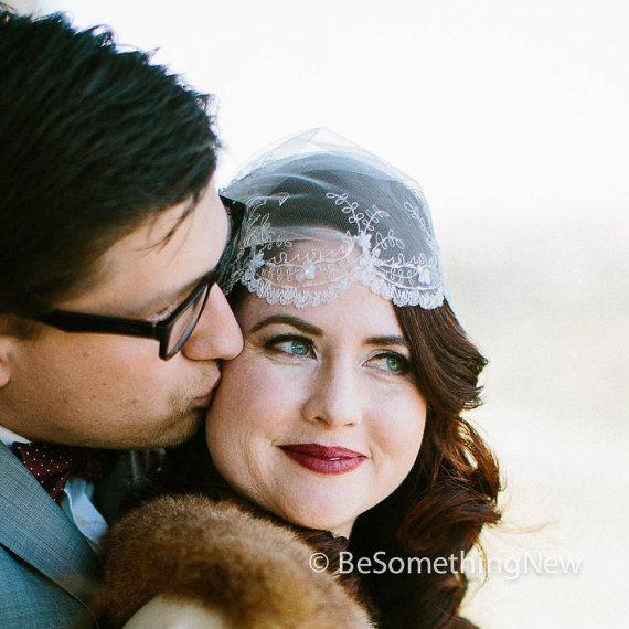 Wedding hair accessory, Ivory beaded lace wedding cap, wedding veil - $95.00 on etsy.com