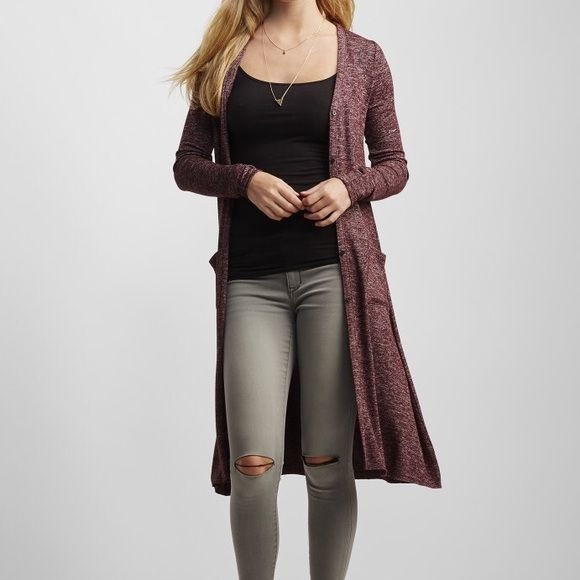 Burgundy heathered button-front duster cardigan | Dusters, Washing ...