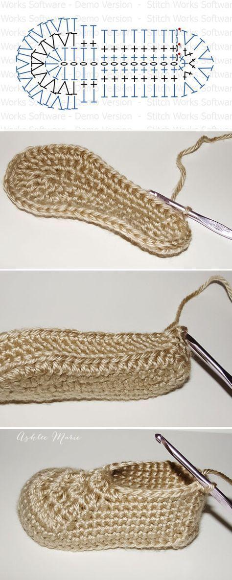 suela y zapatilla, bebé de tamaño, patrón de crochet libre | zapatos ...