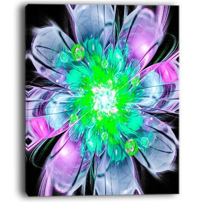 Designart Green Purple Fractal Flower Petals Close Up Graphic Art On Wrapped Canvas Size 40 H X 30 W X 1 D Triptych Canvas Canvas Art Prints Art
