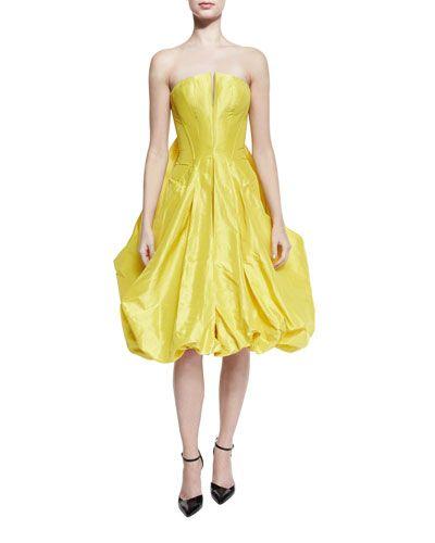 386a3fdad26d0 Strapless Bubble-Skirt Cocktail Dress, Bright Yellow | *Neiman ...