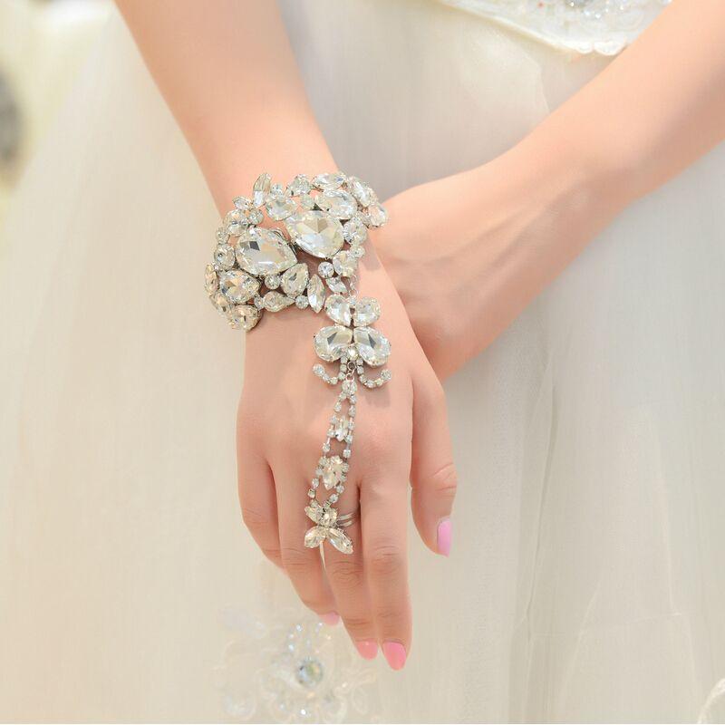 Nupcial branco clipe de strass cadeia pulseira de luxo grande rosa ...