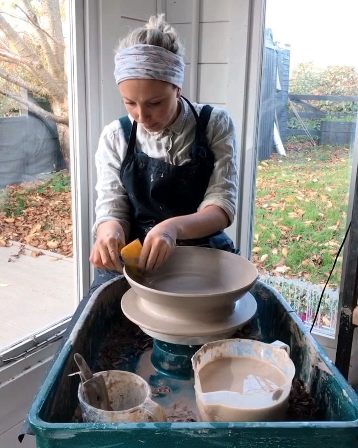 Throwing large and wide pushes the throwers skills beyond the cylinder. You have to control a large amount of clay and you are working right at the edge of your wheel where the centrifugal forces are greatest. Learn how with real time online pottery tutorials at Kara's Pottery Club.