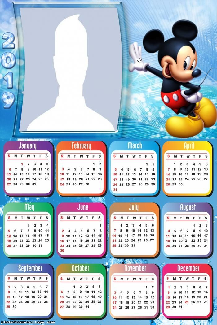 Mickey Disney Calendar 2019 Frame Photo Montage Free Online